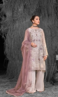Embroidered Chiffon Front ( Stone Embellished ) Embroidered Chiffon Side Panels Plain Chiffon Back Embroidered Chiffon Sleeves Stone Embellished Net Dupatta ( Contrast ) Embroidered Organza Border For Front Embroidered Organza Border For Back Embroidered Organza Border For Sleeves Embroidered Organza Border For Dupatta Pallu Embroidered Organza Patch For Trouser Dyed Trouser