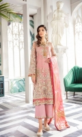 Embroidered Net Unstitched 3 Piece Suit