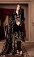Shirt: Velvet (Screen Printed) Shirt color:Black Trouser: Silk Shawl: Velvet (Screen Printed)