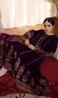 Shirt: Velvet (Screen Printed) Frock Color:Purple Trouser: Silk Dupatta: Silk (Screen Printed)