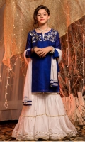 royal blue cotton net shirt with sequins handwork on body white net gharara and dupatta with sequins handwork touching,embellish  with golden laces ,beads tassals  and fabric trims.