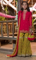 Hot pink chiffon shirt ,olive green screen printed gharara and duppatta.  Handwork on front and sleeves, lace detailing on gharara and dupatta