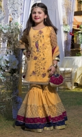 Yellow chiffon shirt and duppatta with screen printed gharara. Round neckline ,three quarter sleeves,handwork on front ,round hemline, screen printed borders details on duppatta and gharara with fancy pouch