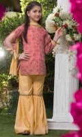 Paper cotton orchid pink screen printed shirt with stone work Round neckline with buttons, high slits sleeves with bow-tie. Paper cotton primrose yellow gharara pants finished with lace. Comes with a matching primrose yellow crushed Dupatta.