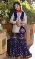 Navy Blue banarsi gharara Off white cotton zari net shirt with handwork neckline Damman velvet coati with handwork Red chiffon Dupatta embellish with gold laces