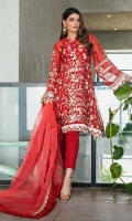 Embroidered Organza Dupatta – 2.5 meters Embroidered Net Shirt – 4.55 meters Dyed Inner & Trouser – 1.75 meters