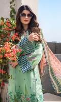 Digital Printed Chiffon Dupatta – 2.5 meters Embroidered Dyed Cotton Silk Shirt Front & Sleeves with Dyed Back – 3.4 meters Dyed Trouser – 2.5 meters