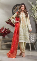 Gold Printed Lawn Dupatta – 2.5 meters Embroidered Dyed Lawn Shirt – 3 meters Embroidered Dyed Trouser – 1.75 meters
