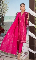 Embroidered Denting Lawn Dupatta with Embroidered Borders on Mahsuri – 2.5 meters Screen Printed Lawn Front, Back & Sleeves with Fancy Lace for Shirt – 1.75 meters Dyed Trouser – 2.5 meters