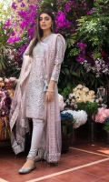 Sequins Embroidered Net Dupatta with Border – 2.5 meters Sequins Embroidered Silver Tissue Shirt – 5.4 meters Dyed Inner & Trouser – 2.5 meters