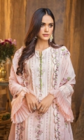 Embroidered Chiffon Dupatta – 2.5 meters Embroidered Jacquard Front, Back & Sleeves with Embroidered Border for Front & Back – 3.15 meters Dyed Trouser – 1.75 meters