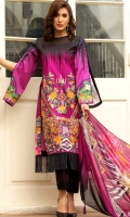 Shirt – 3M  1 Dyed Lawn Full Embroidered Front  2 Digital Prited Back & Sleeves  Dupatta – 2.5 M  1 Digital Printed Silk Dupatta  Trouser – 2.5M  1 Dyed Cotton Cambric Trouser   2 One Piece Embroidered Patch for Trouser