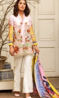 Shirt - 3M  1 Dyed Lawn Full Embroidered Front  2 Digital printed Back and Sleeves  Dupatta -  2.5M  1 Digital Printed Silk Dupatta   Trouser  - 2.5M  1 Dyed Cotton Cambric Trouser