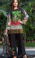Shirt – 3M  1 Dyed Lawn Full Embroidered Front  2 One Piece Embroidered Patch for Front  3 Digital Printed Back and Sleeves  Dupatta – 2.5M  1 Dyed Embroidered Net Dupatta  Trouser 2.5M  1 Dyed Cotton Cambric Trouser   2 One Piece Embroidered Patch for Trouser