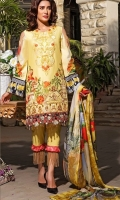 Shirt – 3M   1 Dyed Lawn Full Embroidered Front  2 One Piece Embroidered Neck Patch  3 Digital Printed Back and Sleeves  Dupatta – 2.5M  1 Digital Printed Silk Dupatta  Trouser – 2.5M  1 Dyed Cotton Cambric Trouser