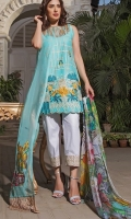 Shirt - 3M 1 Dyed Lawn Full Embroidered Front 2 Digital printed Back and Sleeves Dupatta -  2.5M 1 Digital Printed Chiffon Dupatta  Trouser  - 2.5M 1 Printed Cotton