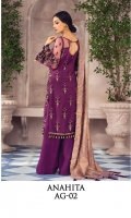 Adda-worked, embroidered & sequined net shirt front Embroidered & sequined net side panel Embroidered & sequined net back Embroidered & sequined net sleeves Dyed gold zaribanarsi dupatta Dyed inner shirt lining Dyed raw silk trouser