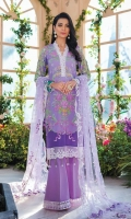 Digitally printed lawn shirt Embroidered net dupatta Embroidered net dupatta pallu border Dyed cotton trouser Embroidered organza border for neckline Embroidered organza border for shirt front Embroidered organza border for trouser