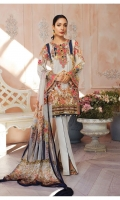 Digitally printed lawn shirt Digitally printed chiffon dupatta Dyed cotton trouser Embroidered organza border for neckline Embroidered organza border for shirt front Embroidered organza border for sleeves