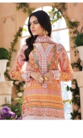 Digitally printed lawn shirt Embroidered net dupatta Embroidered net dupatta pallu border White paste print cotton trouser Embroidered organza border for neckline Embroidered organza border for shirt front Embroidered organza border for sleeves