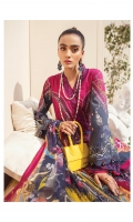 Digitally printed lawn shirt Digitally printed chiffon dupatta Dyed cotton trouser Embroidered organza border for neckline Embroidered organza border for shirt front Embroidered organza border for sleeves Embroidered organza motifs for trouser
