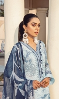 Digitally printed lawn shirt Digitally printed chiffon dupatta White paste-print cotton trouser Embroidered organza border for neckline Embroidered organza border for shirt front Embroidered organza border for sleeves Embroidered organza border for trouser