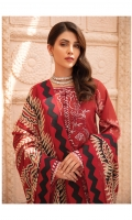 Digitally printed lawn shirt Digitally printed chiffon dupatta Dyed cotton trouser Embroidered organza patch for neckline Embroidered organza border for shirt front Embroidered organza border for sleeves