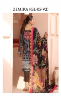 Digitally printed lawn shirt Digitally printed chiffon dupatta Dyed cotton trouser Embroidered organza border for neckline Embroidered organza border for shirt front Embroidered organza border for sleeves Embroidered organza motif for back