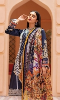 Digitally printed lawn shirt Digitally printed chiffon dupatta Dyed cotton trouser Embroidered organza border for neckline Embroidered organza border for shirt front Embroidered organza border for trouser