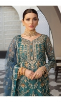Adda-worked, fully embroidered & sequined net center panel Embroidered & sequined net side panel for shirt Embroidered & sequined net sleeves Embroidered & sequined net back Embroidered & sequined net dupatta Embroidered & sequined net border for front Embroidered & sequined net border for back Embroidered & sequined net border for sleeves Embroidered & sequined net border for dupatta Dyed raw silk trouser Dyed inner shirt lining