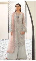 Adda-worked, fully embroidered & sequined net shirt Embroidered & sequined net side panel for shirt Embroidered & sequined net sleeves Embroidered & sequined net back Embroidered & sequined net dupatta Embroidered & sequined net border for front Embroidered & sequined net border for back Embroidered & sequined net border for sleeves Embroidered & sequined net border for dupatta Dyed raw silk trouser Dyed inner shirt lining