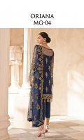 Adda worked, embroidered & sequined net front Embroidered & sequined net side panel Embroidered & sequined net back Embroidered & sequined net sleeves Embroidered & sequined net dupatta Embroidered & sequined net border for front Embroidered & sequined net border for sleeves Dyed raw silk trouser Dyed inner shirt lining