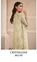 Adda worked, embroidered & sequined net front Embroidered & sequined net side panel Embroidered & sequined net back Embroidered & sequined net sleeves Embroidered & sequined net dupatta Hand embellished, embroidered & sequined neckline patti Embroidered & sequined net border for front Embroidered & sequined net border for back Embroidered & sequined net border for sleeves Embroidered net motif for sleeves Dyed raw silk trouser Dyed inner shirt lining