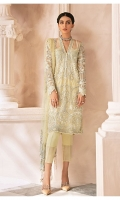 Adda worked, embroidered & sequined net front Embroidered & sequined net side panel Embroidered & sequined net back Embroidered & sequined net sleeves Crystal embellished, embroidered & sequined net dupatta Embroidered & sequined net border for dupatta pallu Hand embellished, embroidered & sequined neckline patti Embroidered & sequined net border for front Embroidered & sequined net border for back Embroidered & sequined net border for sleeves Dyed raw silk trouser Dyed inner shirt lining
