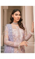 Adda worked, embroidered & sequined net front Embroidered & sequined net side panel Embroidered & sequined net back Embroidered & sequined net sleeves Embroidered & sequined net dupatta Embroidered & sequined net border for front Embroidered & sequined net border for back Embroidered & sequined net border for sleeves Embroidered & sequined net motif for sleeves Dyed raw silk trouser Dyed inner shirt lining