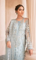 Adda worked, embroidered & sequined net front Embroidered & sequined net side panel Embroidered & sequined net back Embroidered & sequined net sleeves Pearl embellished net dupatta Embroidered & sequined net border for dupatta Embroidered & sequined net border for front Embroidered & sequined net border for back Embroidered & sequined net motif for trouser Dyed raw silk trouser Dyed inner shirt lining