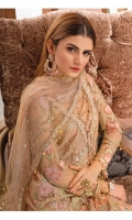 Hand embellished, embroidered & sequined net front Embroidered net side panel for front Embroidered net back Embroidered & sequined net sleeves Crystal embellished & embroidered net dupatta Embroidered & sequined net pallu border for dupatta Embroidered & sequined net border for neckline Embroidered & sequined net border for front Embroidered & sequined net border for back Dyed raw silk trouser Dyed inner shirt lining