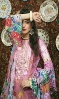 Digital Printed Lawn Shirt With Embroidered Neck Digital Printed Embroidered Sleeves Digital Printed Luxury Lawn Dupatta Dyed Cambric Trouser