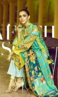 Digital Printed Lawn Shirt  With Neck Embroidered*  Digital Lawn Dupatta with Embroided Trousers Dyed Cambric