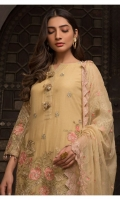 SHIRT FRONT  Chiffon Embroidered with Embroidered Daman Patach  SHIRT BACK  Chiffon Embroidered with Embroidered Patch  SLEEVES  Chiffon Embroidered  DUPATTA  Chiffon Embroidered  TROUSER  Dyed Rawsilk  ADDED SIDE PANEL