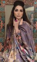 Digital Printed Khaddar  Shirt: 3 M Digital Printed Woolen Shawl: 2.5M Dyed Khaddar Trouser: 2.5M  Accessories:  Embroidered Patch for Shirt Embroidered Patch for Trouser Hand Made Button