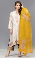 Off-white raw silk 2 kali kurta with embroidered and hand worked zarri, sequin and dabka motifs in shades of gold on neck, sleeve, hem and shirt front