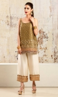 Olive green silk jamawar shirt with heavily embelished embroidered and hand-worked motifs and borders at hem