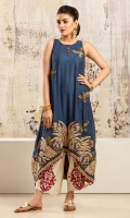 Midnight blue asymetrical cotton net shirt with embroidered and hand worked border and motifs, and block printed detailing at inner hem