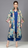 Printed Indian cotton net coat accompanied by a grip silk inner shirt and wide leg pants in cobalt blue