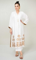 Traditional white cotton net 3 kali kurta with gold zari embroidery and large pearl and tassle detail