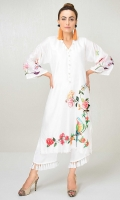 White cotton net shirt with embroidered applique detail and pearl detailing on the neckline and hem