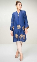 Indigo blue cotton net shirt with gold zarri embroidery and large tassel detailing