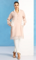 Grip silk shirt in blush pink with diamonte', sequin and pearl hand worked motifs on pockets and organza detailing