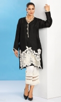 Black cotton net shirt with organza and lace applique detailing